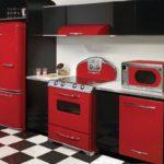 Холодильник в интерьере кухни красно-черного цвета