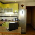 Холодильник в интерьере кухни п-образная конфигурация