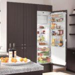 Холодильник в интерьере кухни во встроенном шкафе