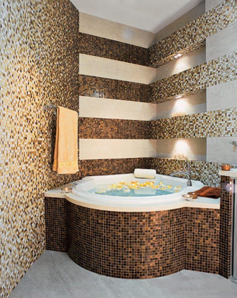 Мозаика для ванной комнаты керамика с позолотой