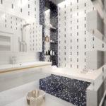 Мозаика в ванной комнате черно-белая