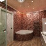 Мозаика в ванной комнате на стенах и ванне