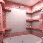 Мозаика в ванной комнате на углах и полочках