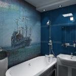 Мозаика в ванной комнате панно в морском стиле