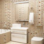 Мозаика в ванной комнате с геометрическим узором