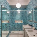 Мозаика в ванной комнате сине-голубой колорит