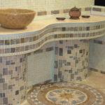 Мозаика в ванной комнате туалетный столик