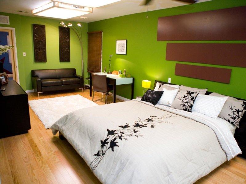 оформление стен в спальне цветовые решения