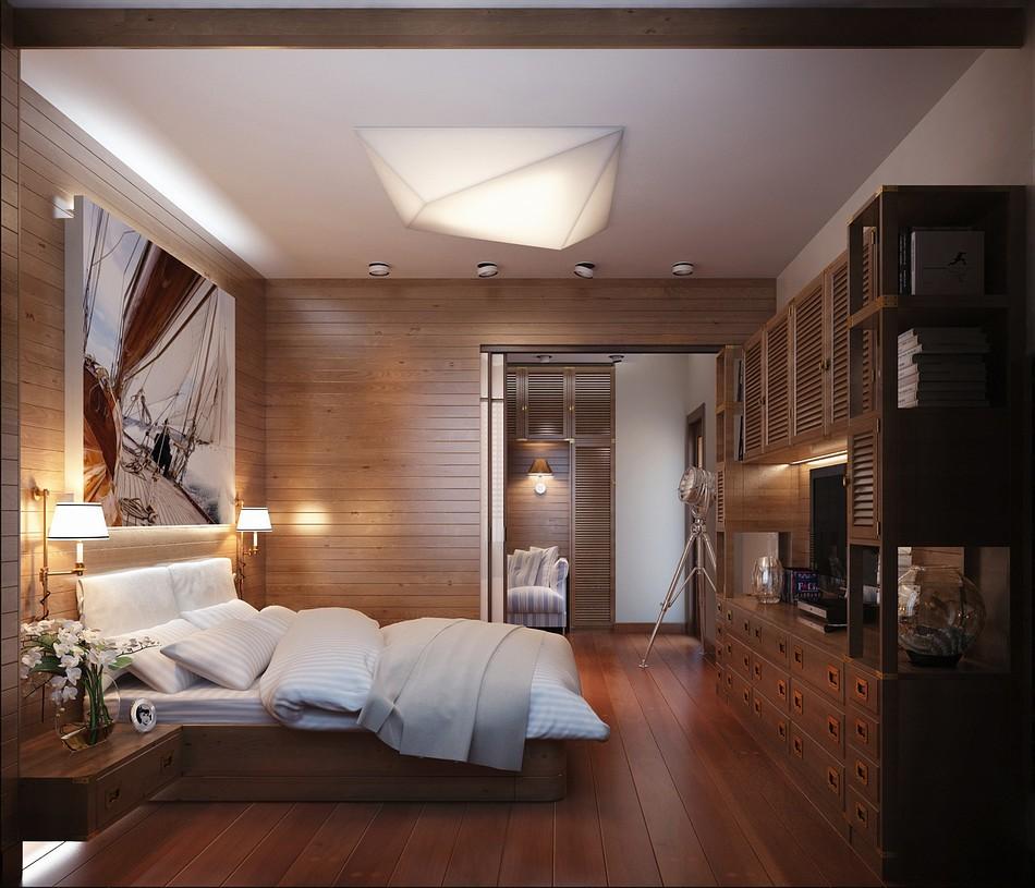 оформление стен в спальне дерево