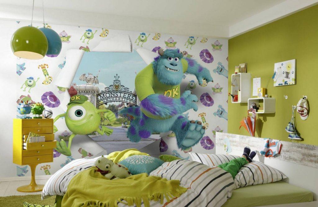 оформление стен в спальне детские принты