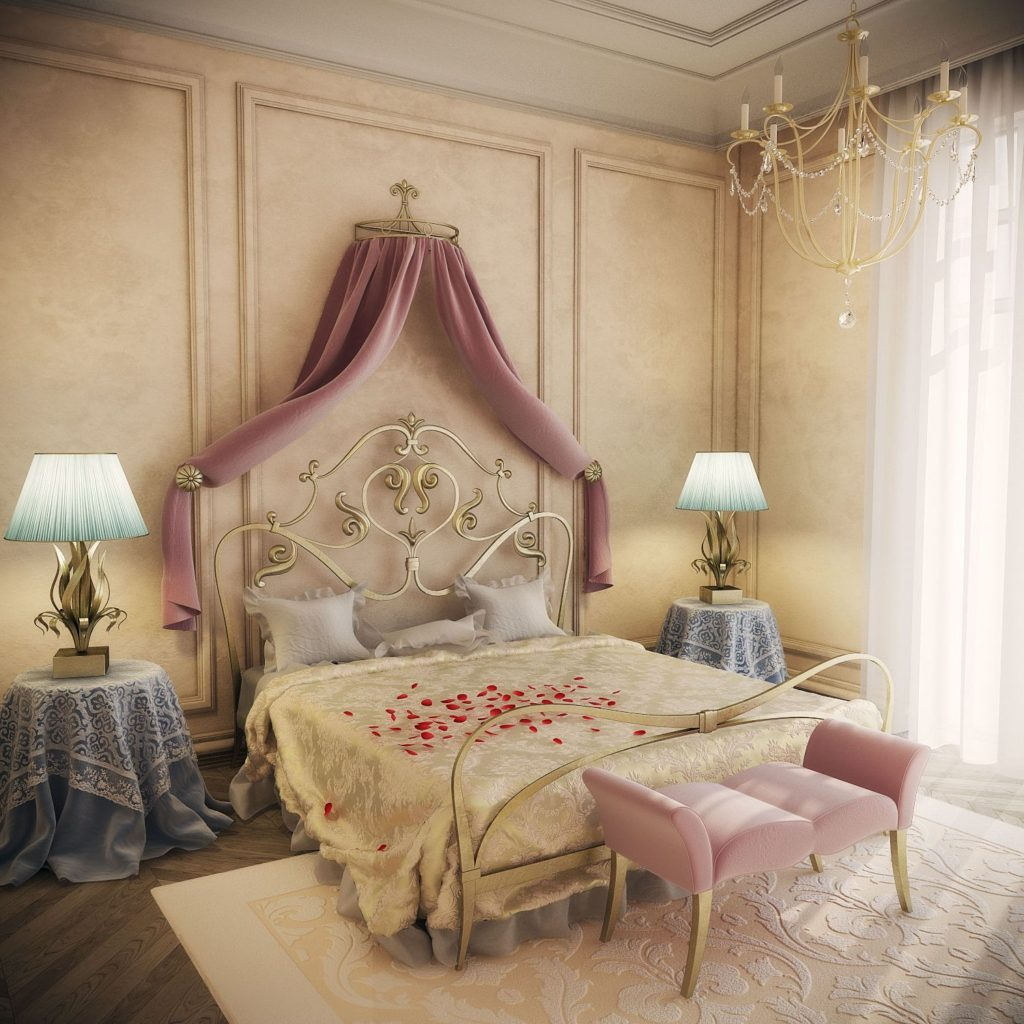 оформление стен в спальне драпировка