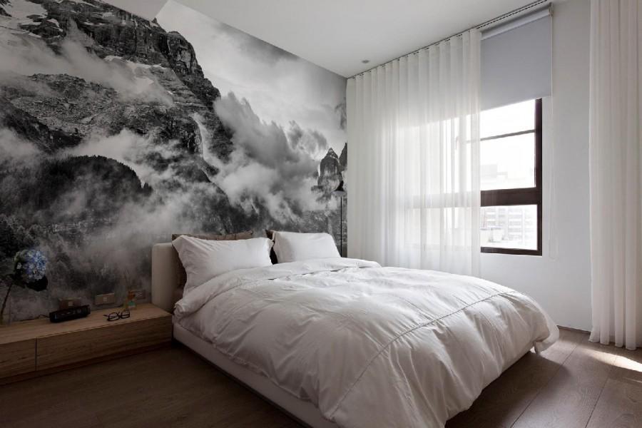 оформление стен в спальне фотообои