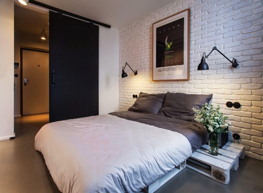 оформление стен в спальне кирпичная кладка
