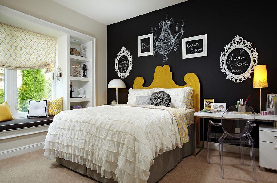 оформление стен в спальне контрасты в спальне