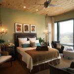 Оформление стен в спальне оливковый цвет изголовье из кожи