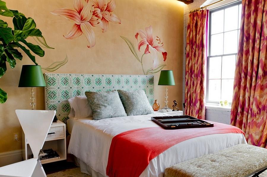 оформление стен в спальне роспись