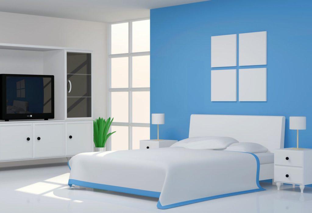 оформление стен в спальне синий цвет