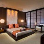 Оформление стен в спальне в японском стиле
