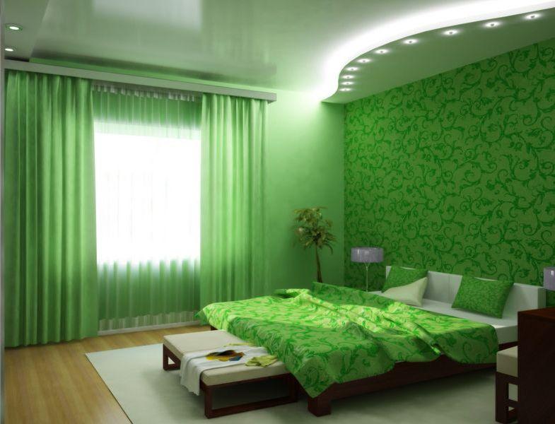 оформление стен в спальне зеленый цвет