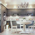 Серая палитра гарнитура кухни в классическом стиле