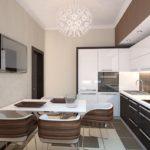 Сочетание цветов интерьер кухни белый и светло-коричневый