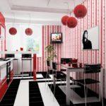 Сочетание цветов интерьер кухни черный и красный на белом