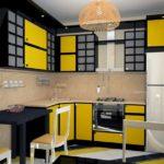 Сочетание цветов интерьер кухни черный и желтый на бежевом фоне