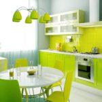 Сочетание цветов интерьер кухни изумрудный зеленый лимонно-желтый