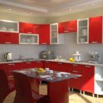 Сочетание цветов интерьер кухни красный доминирует