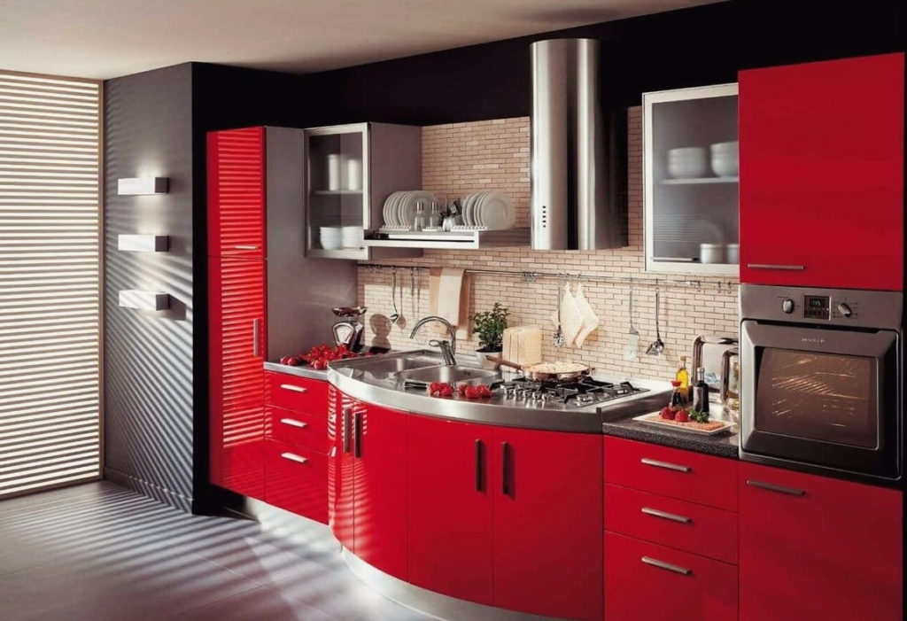 Сочетание цветов интерьер кухни красный и темные тона