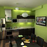 Сочетание цветов интерьер кухни салатовый и черный с коричневым