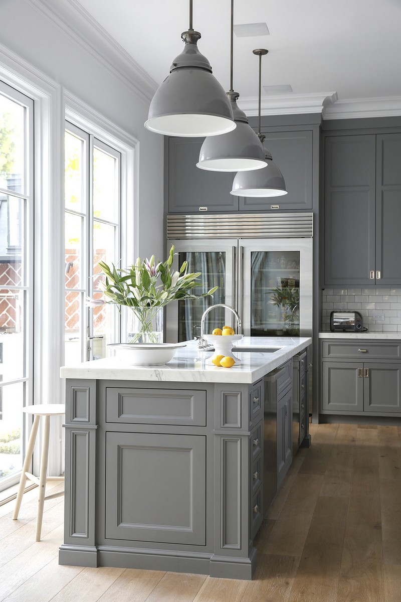 Сочетание цветов интерьер кухни серый классик