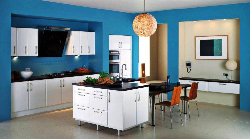 Сочетание цветов интерьер кухни синий с белым