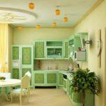 Сочетание цветов интерьер кухни светлые желтый и зеленый