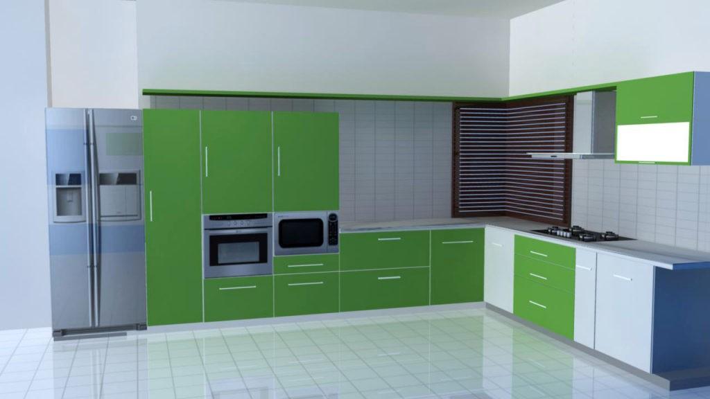 Сочетание цветов интерьер кухни зеленый и белый