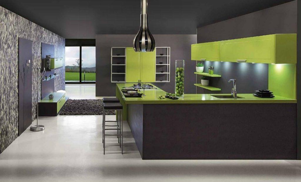 Сочетание цветов интерьер кухни зеленый и черный