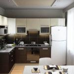 Современная кухня белое на коричневом и серые стены