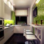 Современная кухня матовый беж и глянцевый зеленый