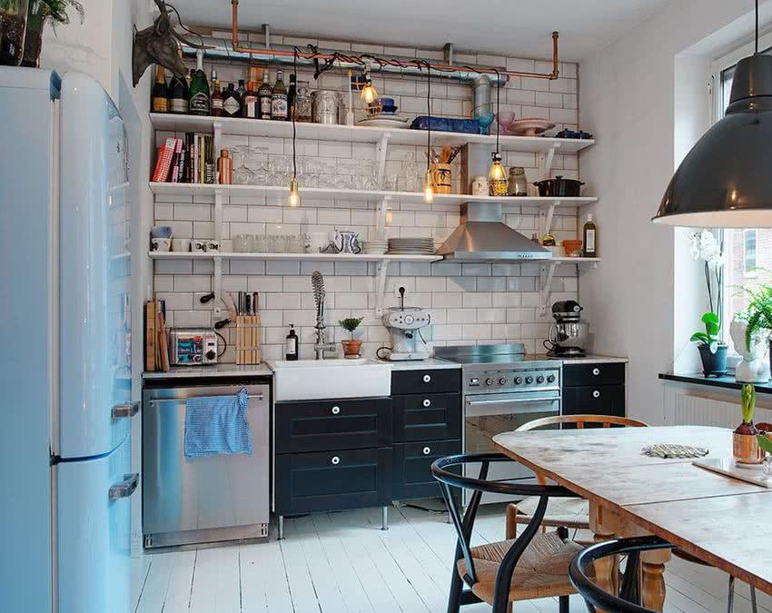 Современная кухня открытые полки