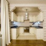 Современная кухня стилизация под деревянный сруб
