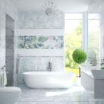 ванная комната с окном в мягких тонах