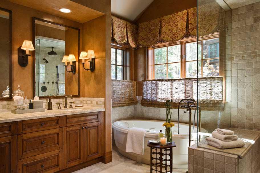 ванная с окном в стиле кантри