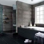 Ванная комната в частном доме черный кафель натяжной потолок
