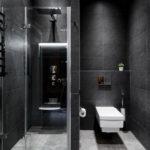 черно белый дизайн ванной совмещенной с туалетом