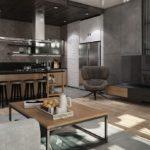 дизайн гостиной кухни 18 м2 лофт