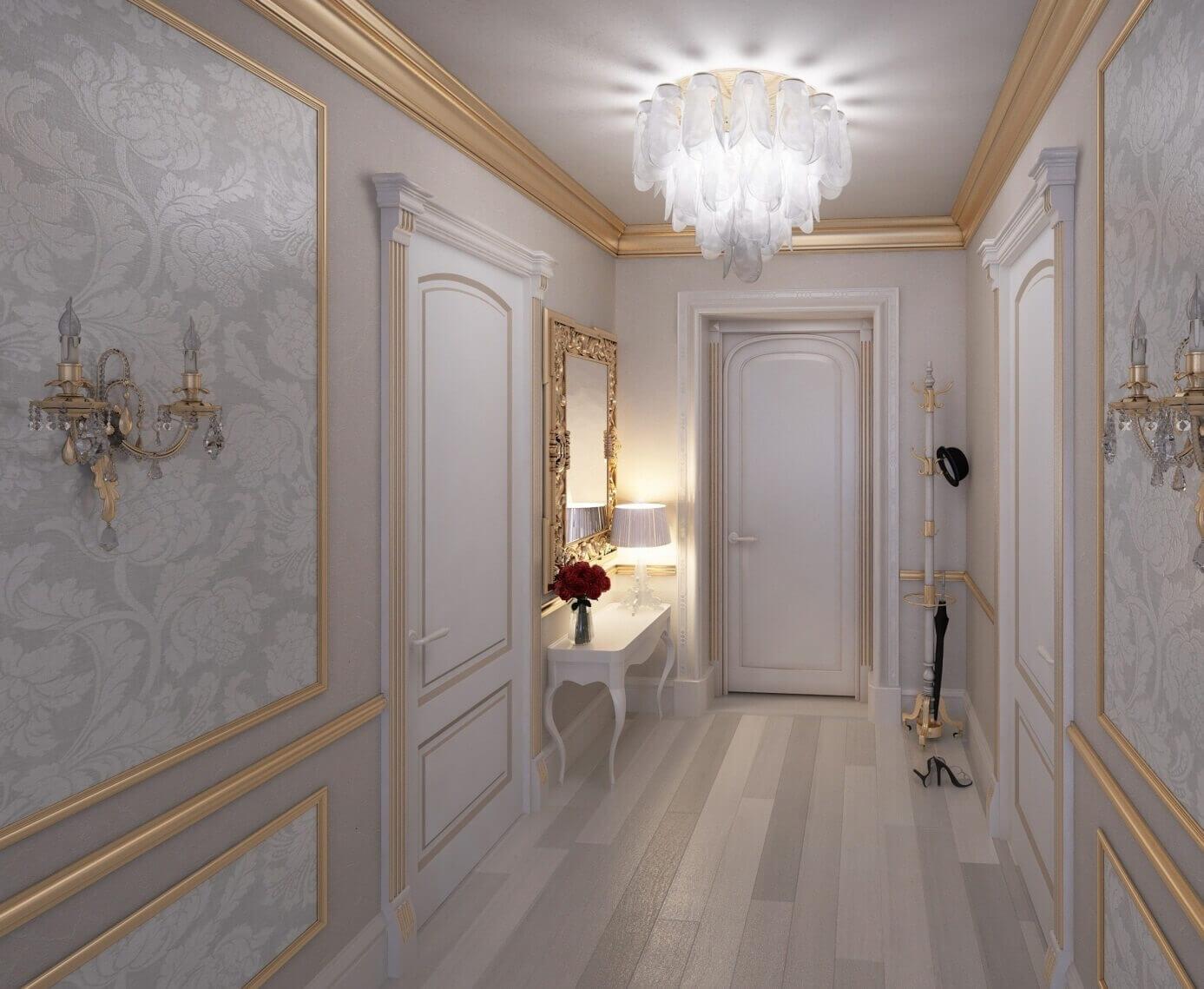 шикарный дизайн длинного коридора
