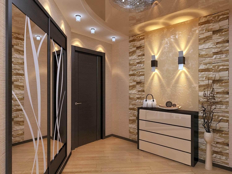 дизайн потолка в узком коридоре