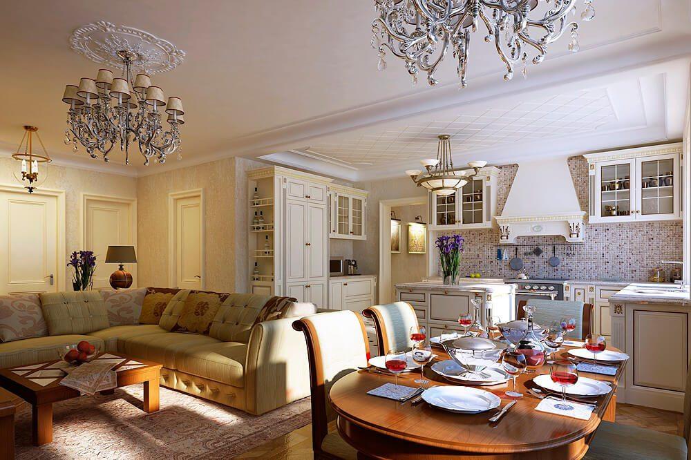 красивый дизайн кухни гостиной
