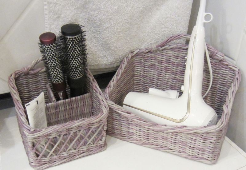 Декор ванной комнаты корзинки для аксессуаров из газетных трубочек