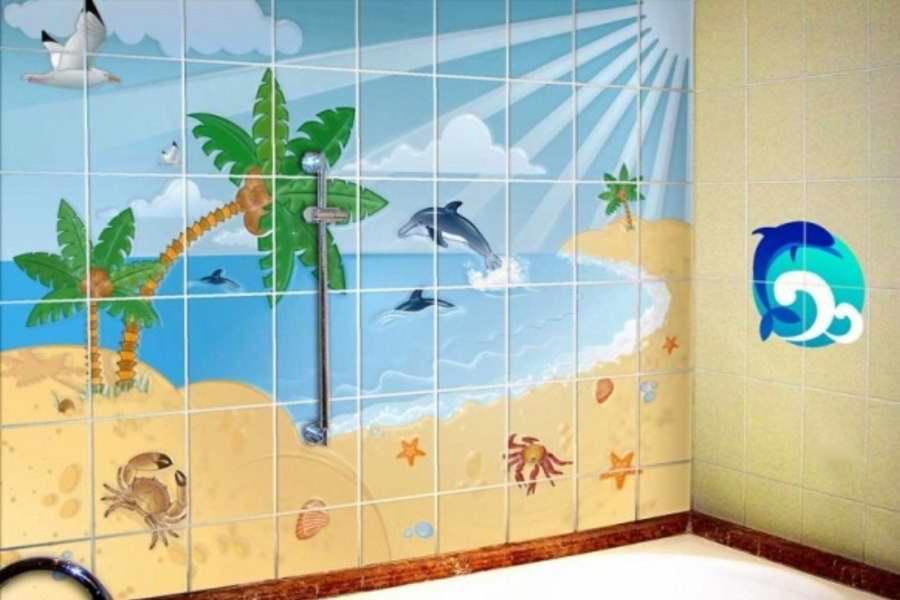 Декор ванной комнаты плитка с эксклюзивным рисунком